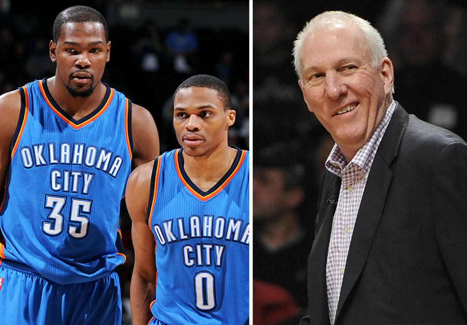 Gregg Popovich Russell Westbrook y Kevin Durant de Los mejores del diciembre en la NBA