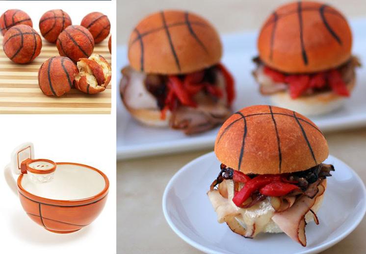 comida y basquetbol
