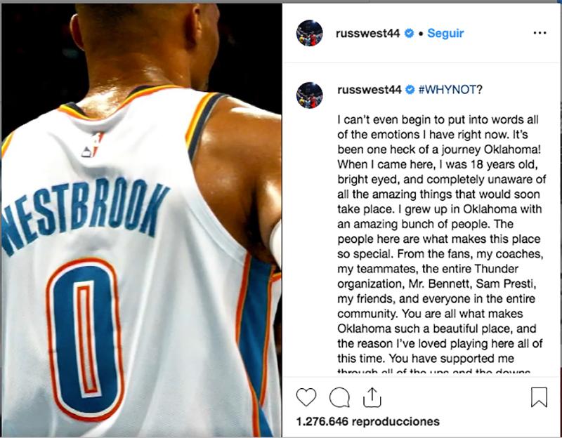 Westbrook agradece a OKC